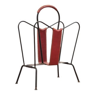 Jacques Adnet Magazine Rack, 1950s For Sale