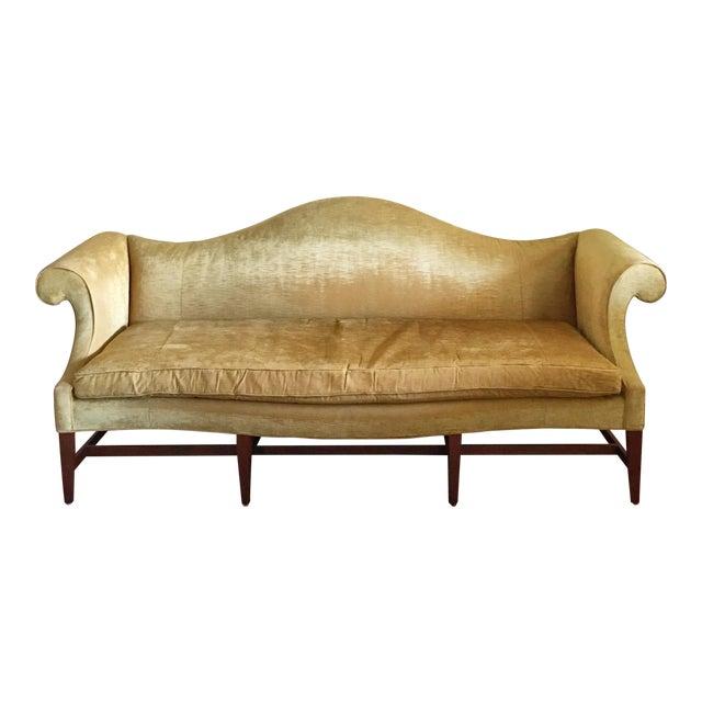 Mid Century Modern Crushed Velvet Camelback Sofa For Sale