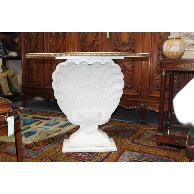 Hollywood Regency 1940s Hollywood Regency Shell Demi-Lune Table For Sale - Image 3 of 3