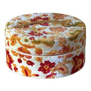 Vintage 1940's Floral Tapestry Style Hat Box For Sale
