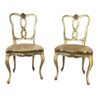 18th C Italian Painted Side Chairs - a Pair