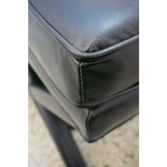 Late 20th Century Modern Black Leather X Stools / Ottomans - a Pair For Sale - Image 5 of 6