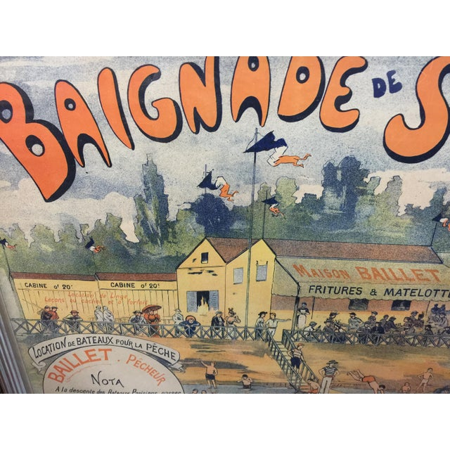 """Circa 1900 French Advertising Poster. Excellent condition. Framed original poster. This measures 31"""" x 24"""" x 1"""" deep."""