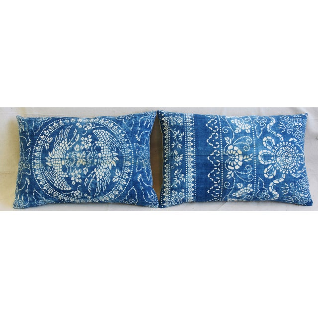 Pair of large custom-tailored blue and white chinoiserie batik pillows created from traditional hand-blocked batik cotton...