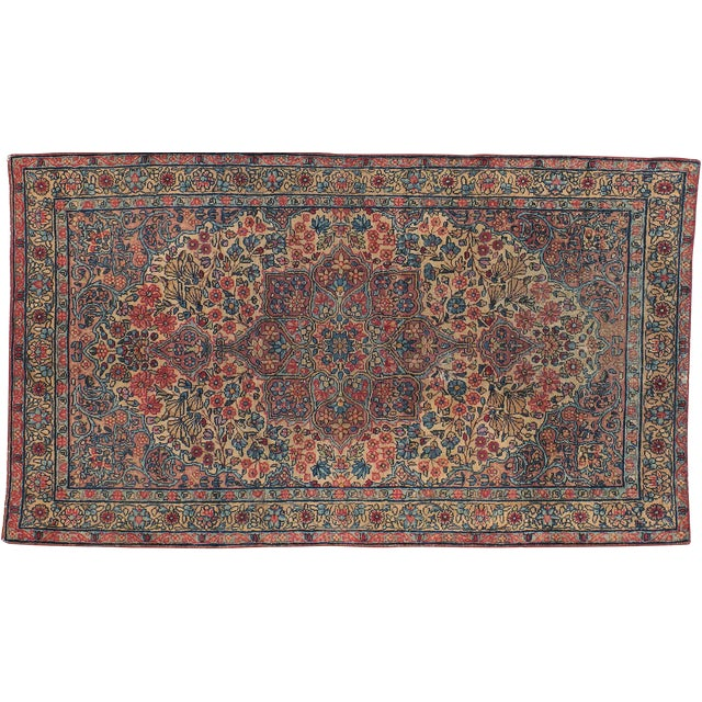 "Antique Persian Kerman Rug - 2'11"" x 5'0"" - Image 1 of 3"