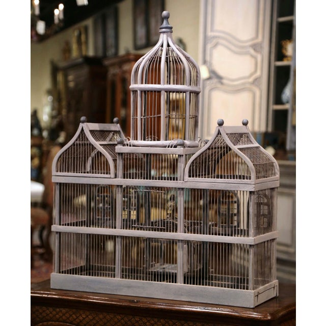 Early 20th Century French Carved and Painted Wooden and Wire Birdcage For Sale - Image 9 of 10
