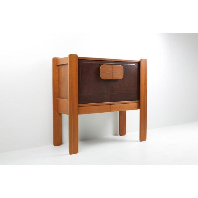 1970s Walnut and Leather Postmodern Cabinet For Sale - Image 5 of 8