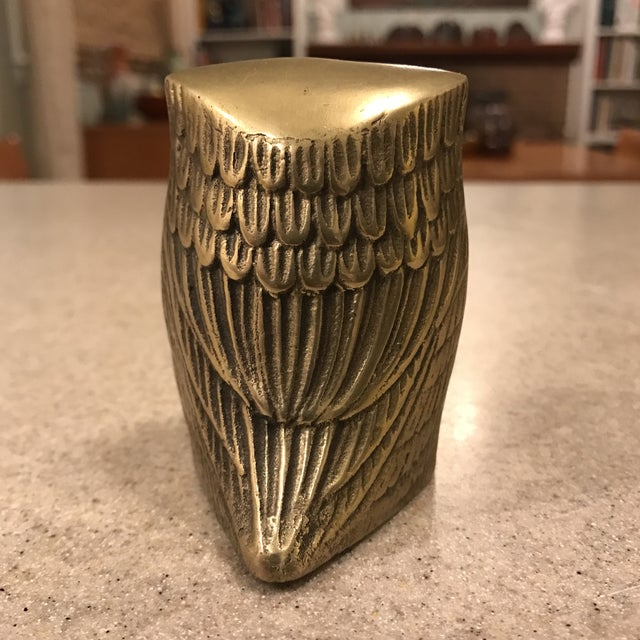 Mid-Century Modern Vintage Brass Owl Paperweight For Sale - Image 3 of 8