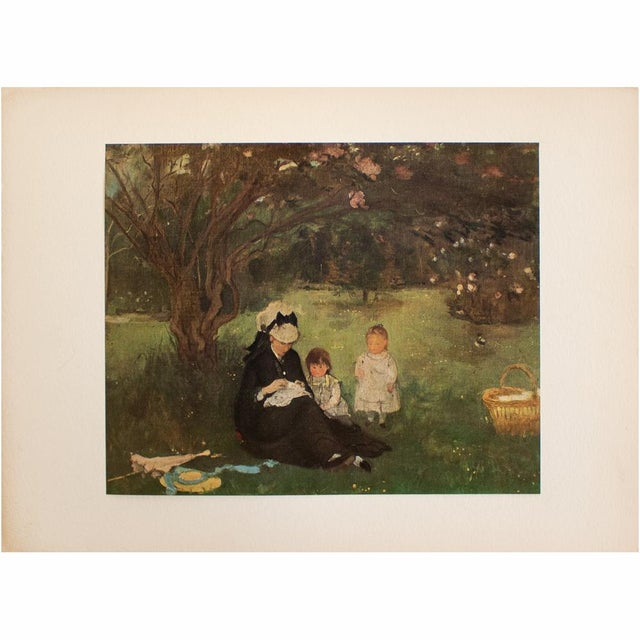"""Rare vintage First Edition Impressionist offset lithograph of oil painting """"The Lilac in Maurecourt"""" (1874) by French..."""
