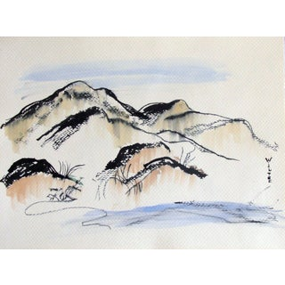 Asian Inspired Landscape Watercolor by Wiltse For Sale