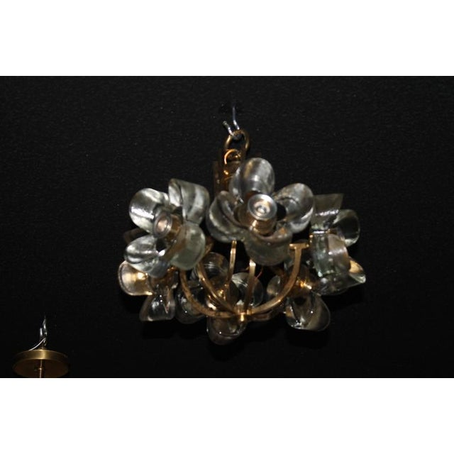 Vintage Murano Mazzega Glass Flower And Brass Italian Chandelier The Solid Very Thick Flowers Are