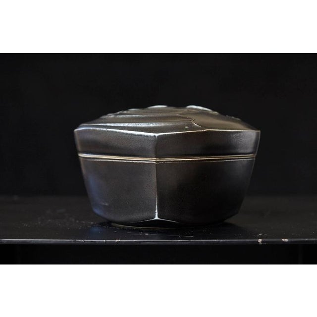 Ceramic Chris Staley Square Black Lidded Jar, Signed For Sale - Image 7 of 11