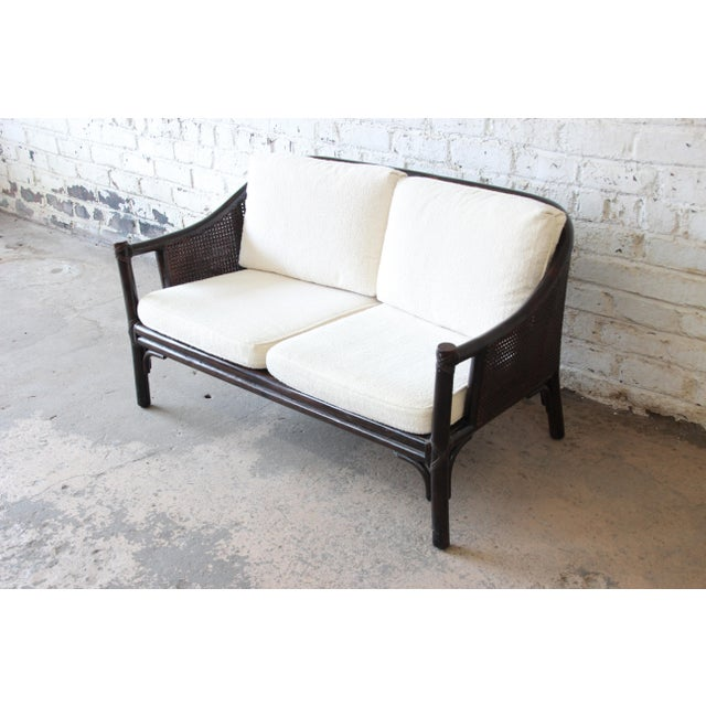 McGuire Rattan and Cane Settee or Love Seat by McGuire of San Francisco For Sale - Image 4 of 13