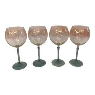 Vintage Ombré Green Stem Wine Goblets - Set of 4 For Sale