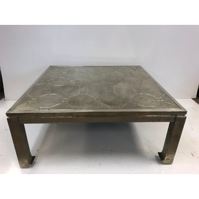 Metal 1970s Modern Silver Clad Coffee Table For Sale - Image 7 of 7