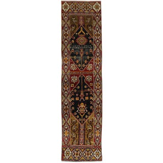 Distressed Antique Turkish Oushak Hallway Runner - 3'3 X 12'8 For Sale