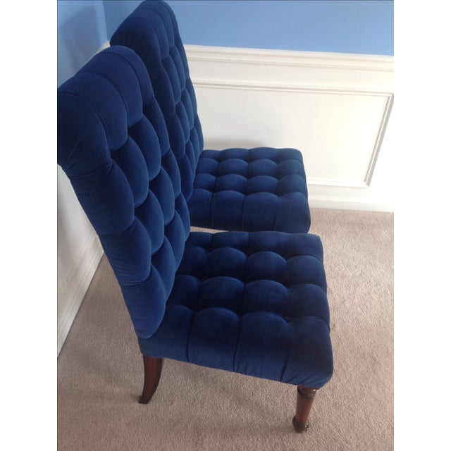 Barclay Butera Velvet Tufted Dining Chairs - Pair - Image 4 of 8