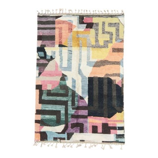 Colorful Contemporary Moroccan Wool Area Rug For Sale