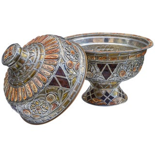 Hand-Engraved Moroccan Lidded Bowl For Sale