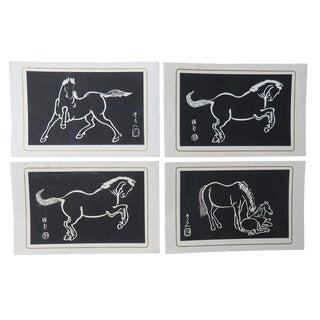 Sonan Noda Japanese Horses Writing Cards & Envelopes Woodblock Prints - Set of 4 For Sale