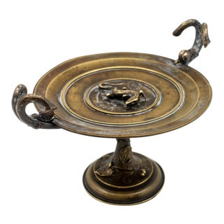 French Bronze Tazza with Reptile, Snails and Leaf Decoration, 19th Century For Sale