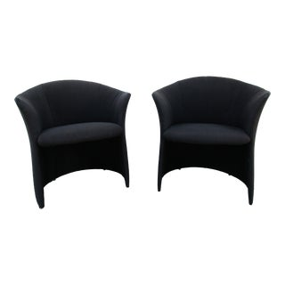 Vintage Preview Horseshoe or Barrel Back Lounge Chairs - a Pair For Sale
