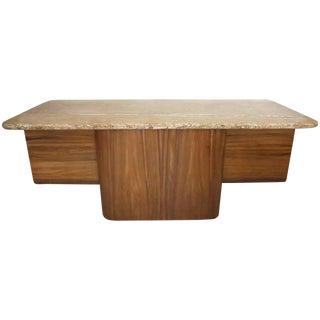 1980s Mid-Century Modern Vladimir Kagan Marble Top Executive Desk