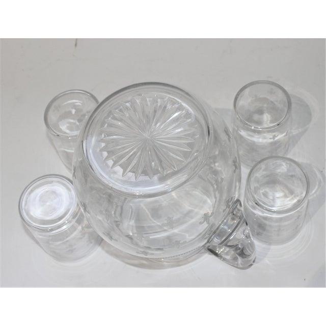 Vintage Fleur De Lis Glass Pitcher and 4 Tumblers Iced Tea Lemonade - a Set For Sale - Image 9 of 13