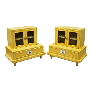 Mid Century Bethlehem Furniture Step Down Blonde Mahogany Nightstands - a Pair For Sale