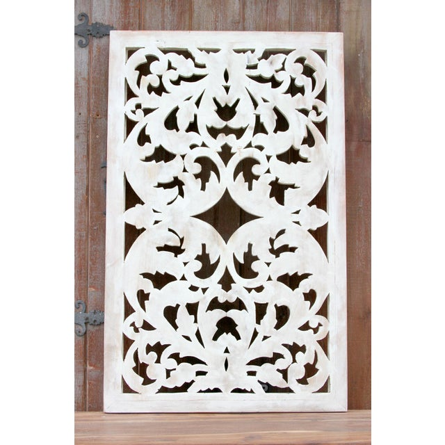 Acanthus Whitewashed Wooden Carved Panel For Sale - Image 9 of 11