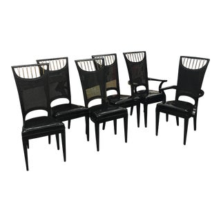 Black Vinyl Dining Chairs - Set of 6
