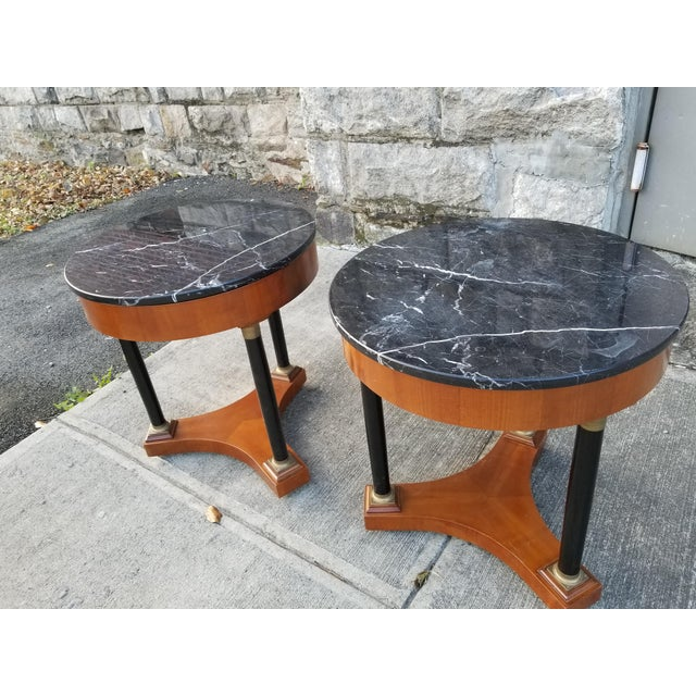 Empire Italian Empire Style Marble Top Side Tables - A Pair For Sale - Image 3 of 11