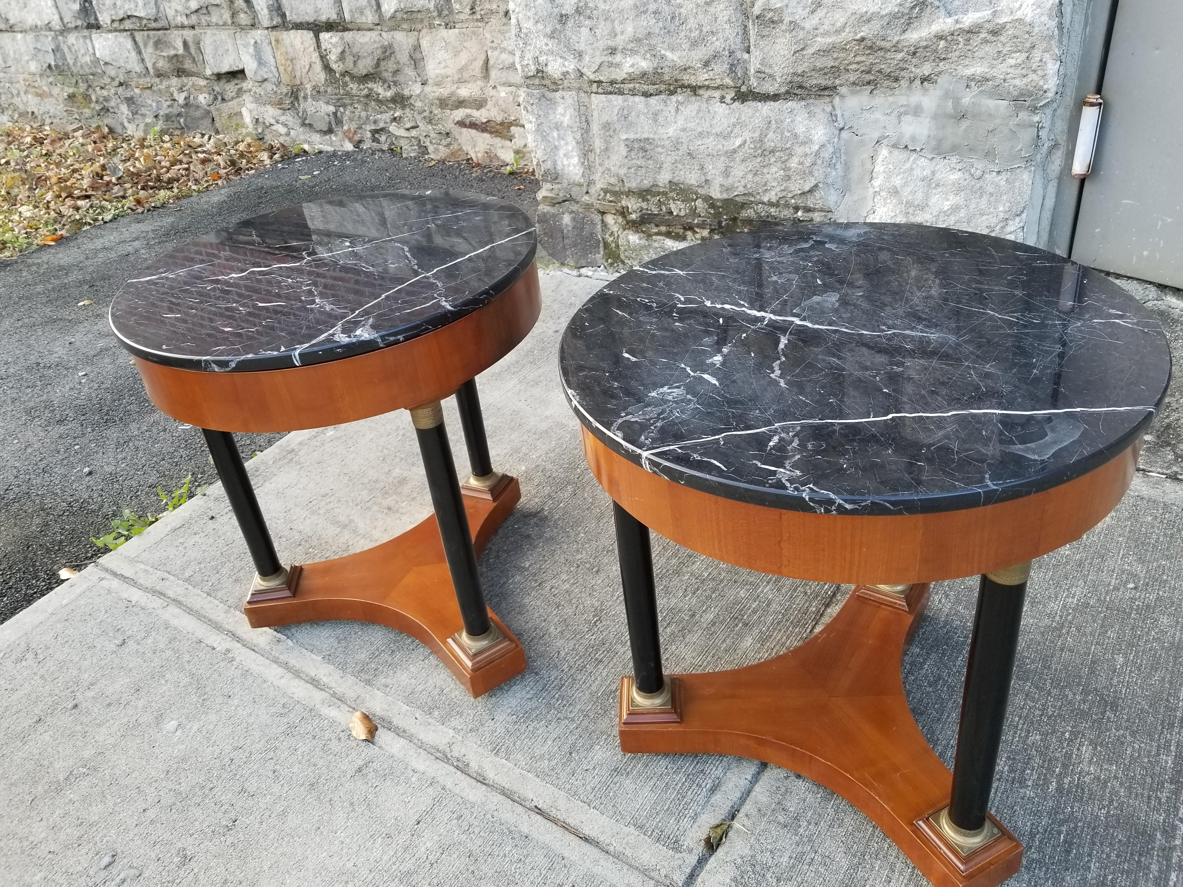 Italian Empire Style Marble Top Side Tables   A Pair   Image 3 Of 11