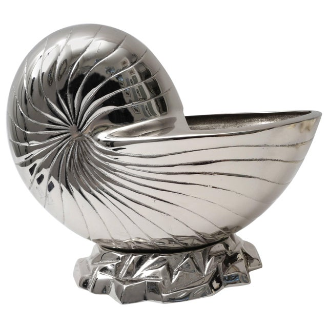 Large Nickel Plated Nautilus Cachepot For Sale - Image 10 of 10