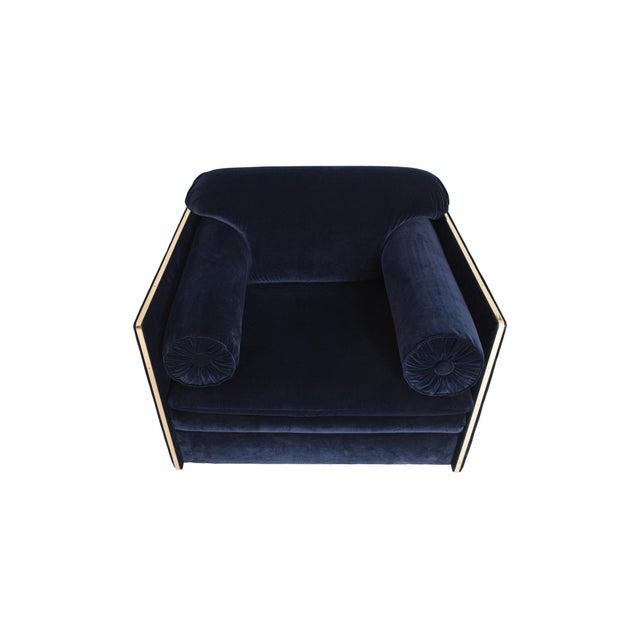 Italian Glam Armchairs in Dark Blue Velvet & Brass For Sale - Image 9 of 10