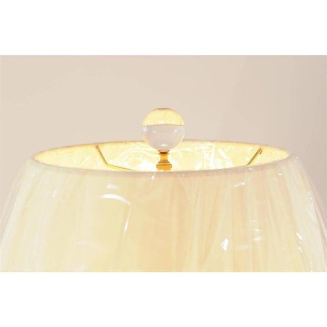 Gold Stunning Pair of Blown Murano Lamps with Brass and Lucite Accents For Sale - Image 8 of 9