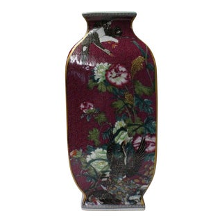 Chinese Plum Red Rich Multi-Color Flower Birds Porcelain Vase