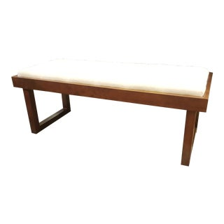 Modern Upholstered White Bench For Sale