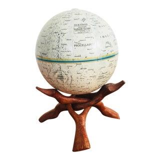 Vintage Moon Globe on Folding Wood Stand