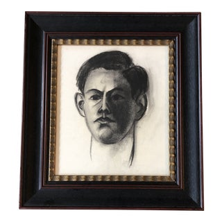 Vintage Original Charcoal Young Male Portrait Drawing Framed For Sale