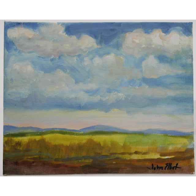 """Impressionist Oil Painting on Canvas Board """"Hudson Valley Skies"""" by listed Artist John Elliot from the artist's estate...."""