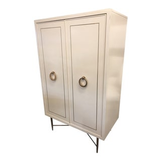 Contemporary Linen and Gold Wardrobe For Sale