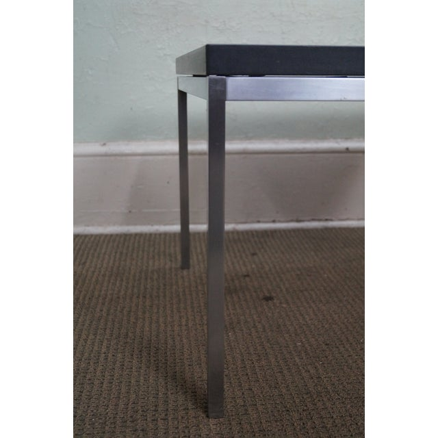 American Mid Century Modern Atomic Age Small Patio Round: Mid Century Modern Square Chrome Slate Top Side Table
