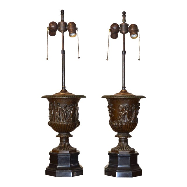 Pair of Barbedienne Bronze Medici Urn Lamps For Sale