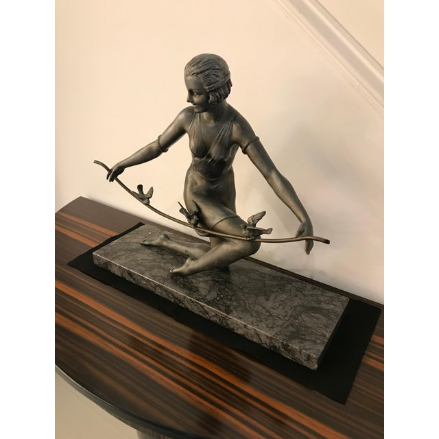 French Art Deco Female Sculpture on Marble For Sale - Image 4 of 13