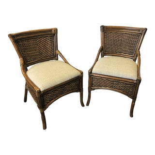 Vintage Mid Century Rattan & Wicker Chairs- a Pair For Sale