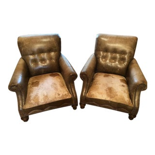 Modern Rustic Club Chairs- A Pair For Sale