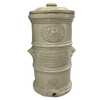 Antique English Victorian Stoneware Water Filter For Sale