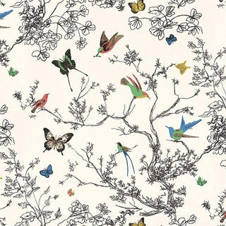 Schumacher Birds & Butterflies Luxe Wallpaper in Multicolor on White - 2-Roll Set (10 Yards) For Sale