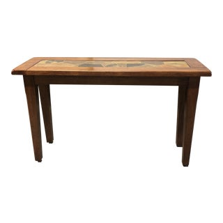 Wood + Stone Console Table For Sale